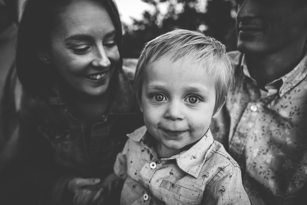 Sweet boy and his family during their family photography session at Mt. Falcon in Denver, Colorado.