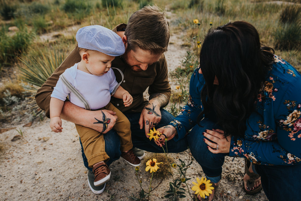 Family explores Colorado forest floor wild flowers with their infant son in Colorado Springs during family photography session.