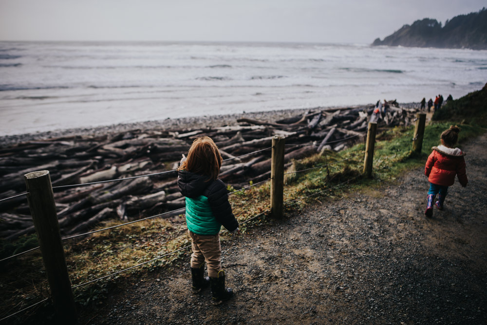 Little boy is in awe of the Pacific Ocean during hike with his family at Oswald West State Park.