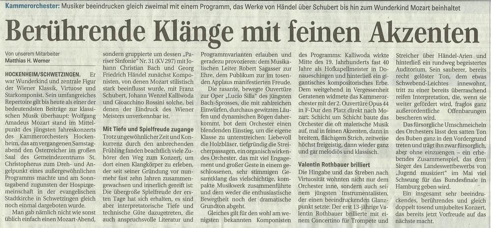 Hockenheimer Tageszeitung vom 21. April 2015