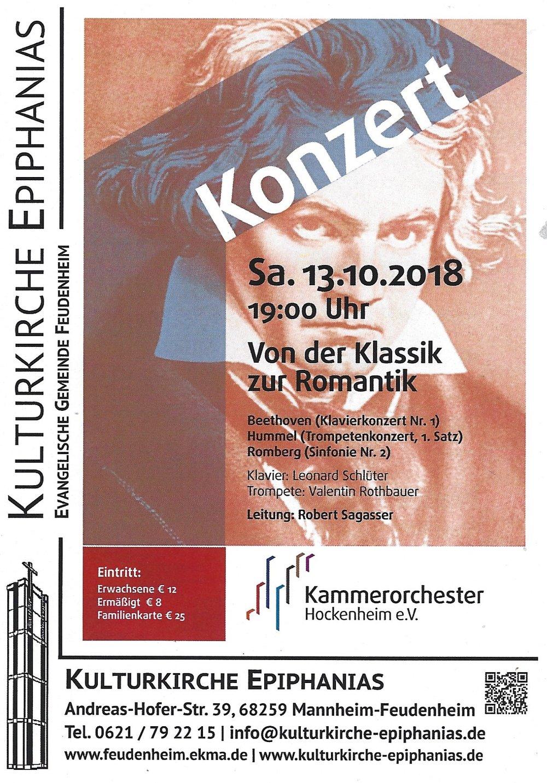 Eintrittskarten - … können Sie über alle Mitglieder des Kammerorchester Hockenheim im Vorverkauf erhalten.Gerne nehmen wir auch Bestellungen über unsere Website entgegen. Diese Karten werden an der Abendkasse auf Ihren Namen hinterlegt.Wir freuen uns auf Ihren Besuch!