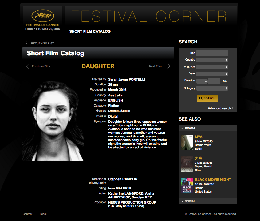 Daughter in the Cannes Short Film Corner catalog under Drama, Social