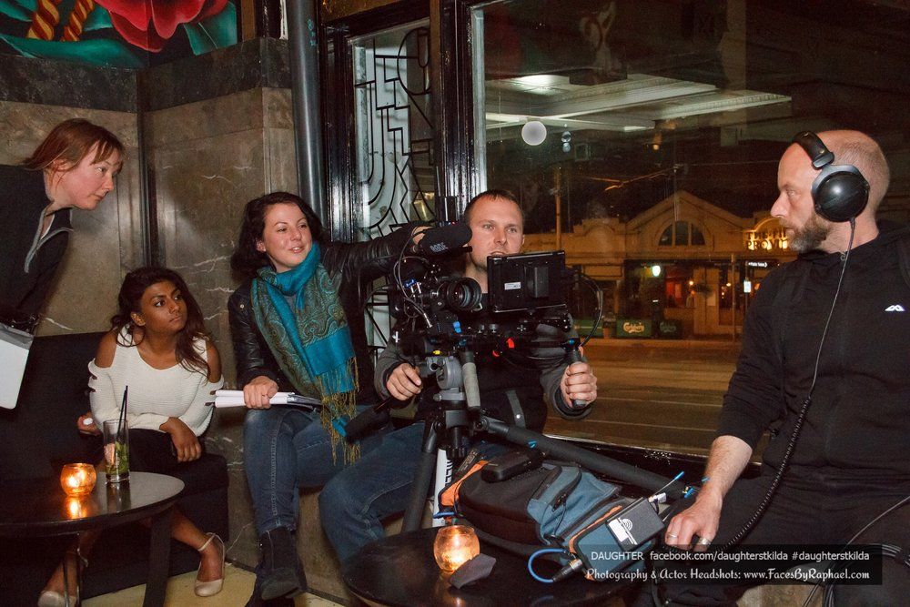 L-R - AD Jemma Van Loen, Co-Producer Dinushi Diaz, Director/Writer Sarah Jayne, DOP Stephan Ramplin, Location Sound Glenn Taylor