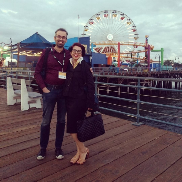 Sarah and Ivan from NPG at Santa Monica pier after a successful day of meetings at AFM.