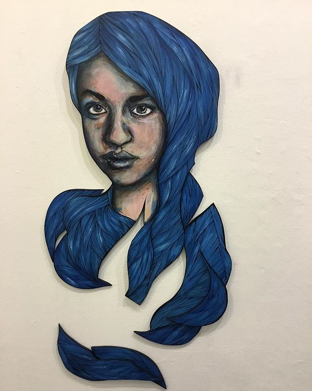 This is a painting based on @ariscestocrat that I did last year. And just for fun here it is again! #melbourneartist #painting #art #woodcut #femmeart #queerart #paintingsoftranspeople #transartist #transart