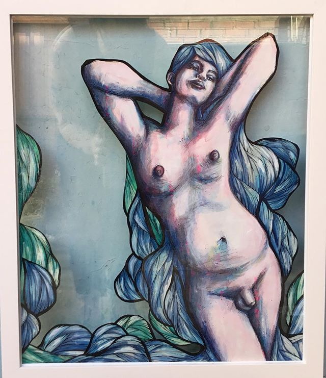 Hey super babes! Tomorrow night I've got this painting in a show at @bside.gallery in Fitzroy, 6-9 pm. I'd love to see you all there. 💙💙💙💙 #melbourneart #melbourneartist #melbourne #art #painting #queerart #lgbtart #transartist #transart