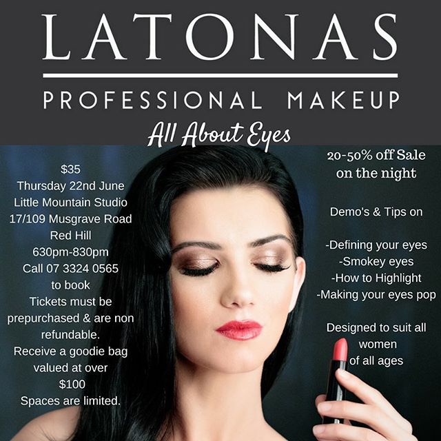 Next Thursday evening at the studio! Will be heaps of fun with the girls from @latonas_makeup ! Lots of goodies too. . . . . . . . #brisbane #brisbaneworkshop #brisbanemakeup #latonasmakeup #eyemakeup #eyemakeuptutorial
