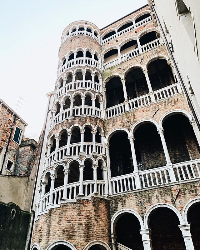 Oops not the Leaning Tower of Pisa, just a cool staircase. | Venice, Italy