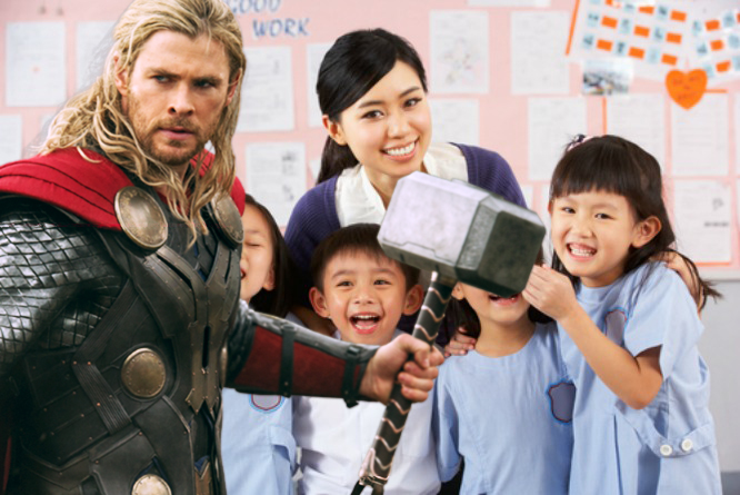 Teachers will be required to wear the authentic Marvel costumes while teaching.