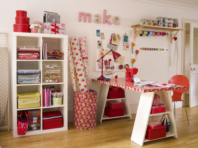 Mercilessly stolen from http://axihomedesign.com/craft-room-ideas/