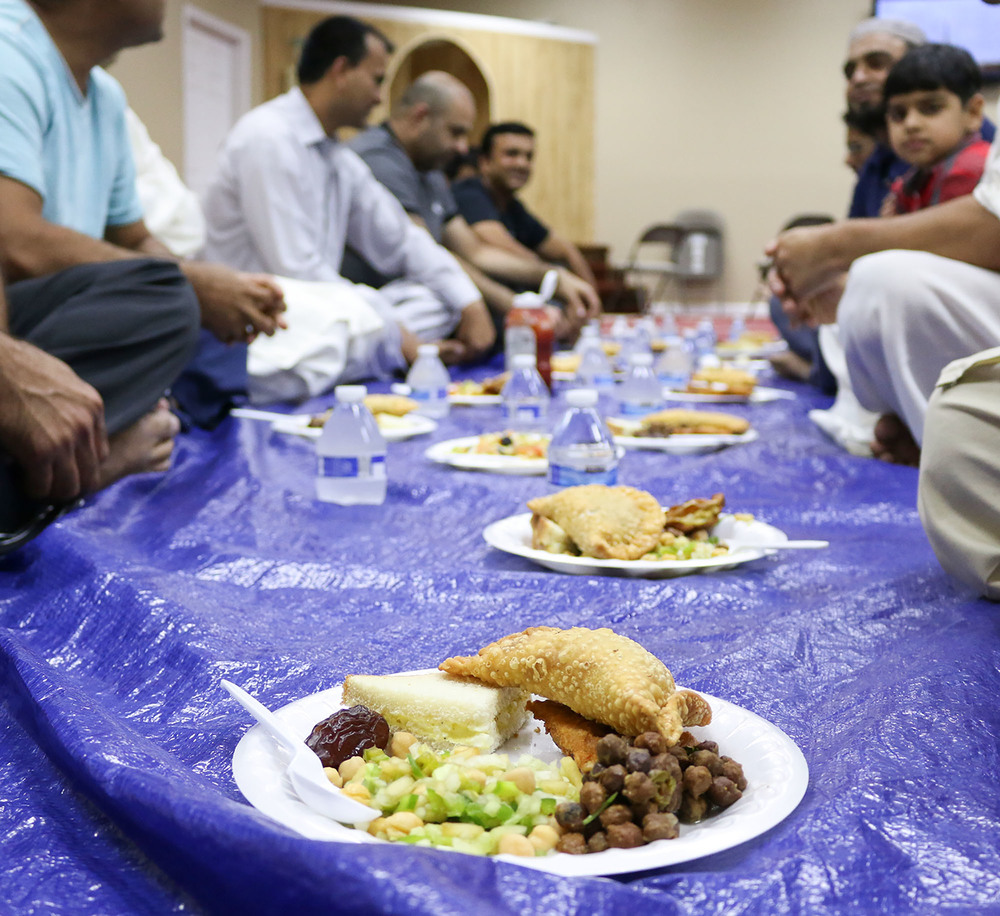 Food is presented for Ramadan at the Masjid Suffah mosque in Kennesaw on Tuesday. During the month of Ramadan, Muslims fast from dawn to dusk. Staff- Emily Selby