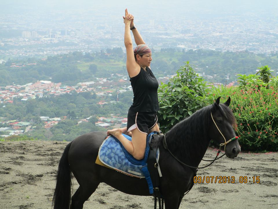 Yoga Pose with horses
