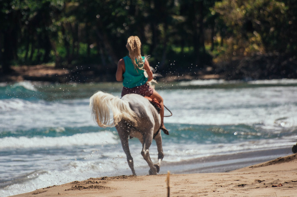 Johanna, a volunteer from Sweden, more like a family member now since almost 2 years, gallops down Playa Cocles with Shad.