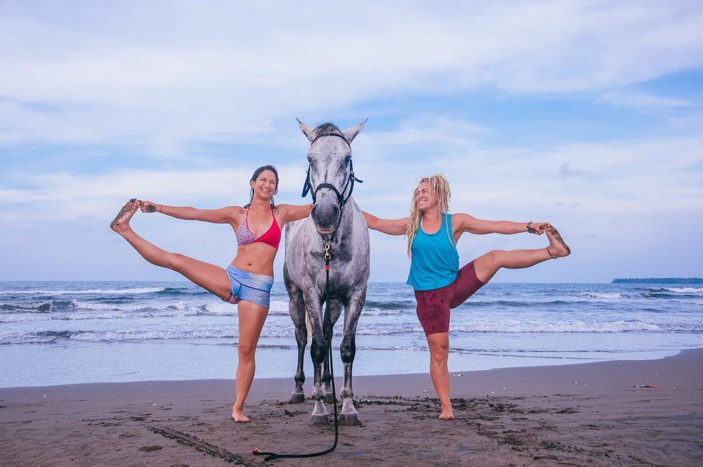 Three yogis; Kieran & Johanna with Greyjoy.