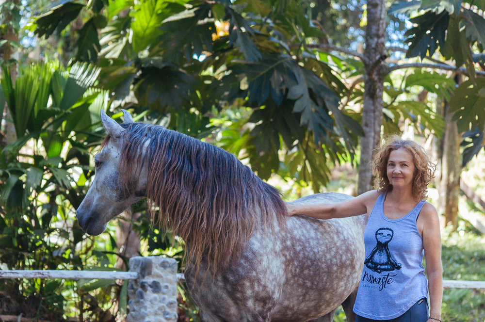 Terry Newton, host and Yoga teacher, with Nahar, andalusian horse.