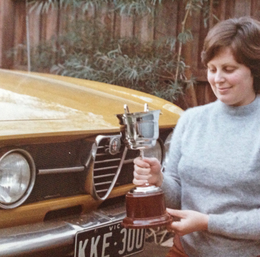 Mum was a bit of an Alfista too. Here she is in front of the car dad bought new in 1969 and still has. She had won the AROCA Clubman trophy.