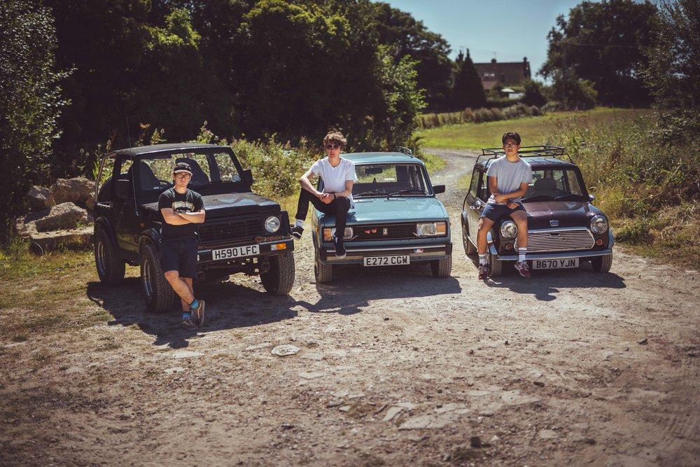 Tod (left) - 1990 Suzuki SJ413, Sam (centre) - 1987 Lada Riva Vaz 2104 , Sid (right) - 1984 Mini 'Mabel'