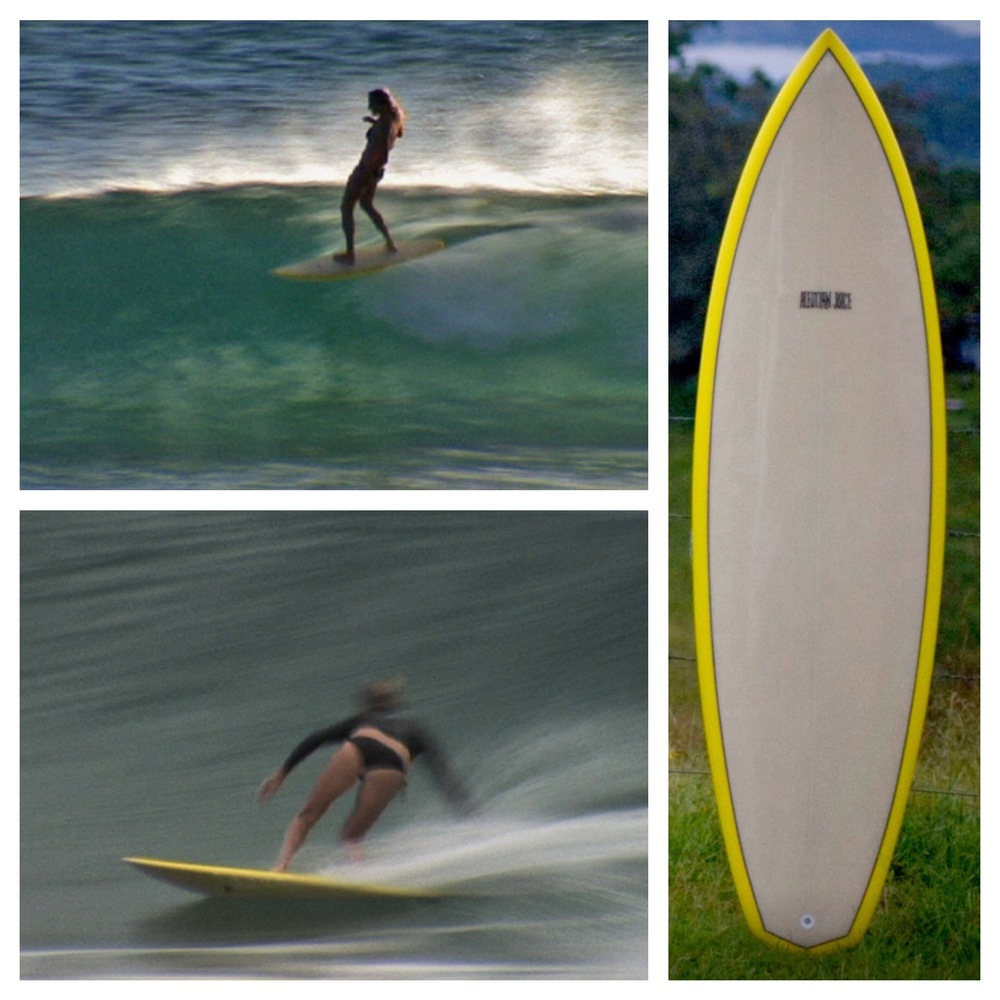"Stephanie Gilmore on her 6'1"" X 19.5 X 2.35"" V6 single fin, from Andrew Kidman's  Spirit of Akasha"
