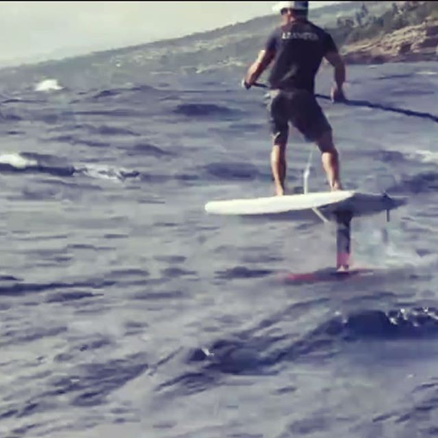 "In training and in the hunt for 2019's MKK race. 6'0"" X 26"" X 4.25"" downwind race foilboard for @christianbrad @toddpohaku Glassed by @haakenson_fiberglass EPS by @usblanks Respect and Aloha for John Kelly and his ahead-of-its-time Hydroplane for the piko of this design"
