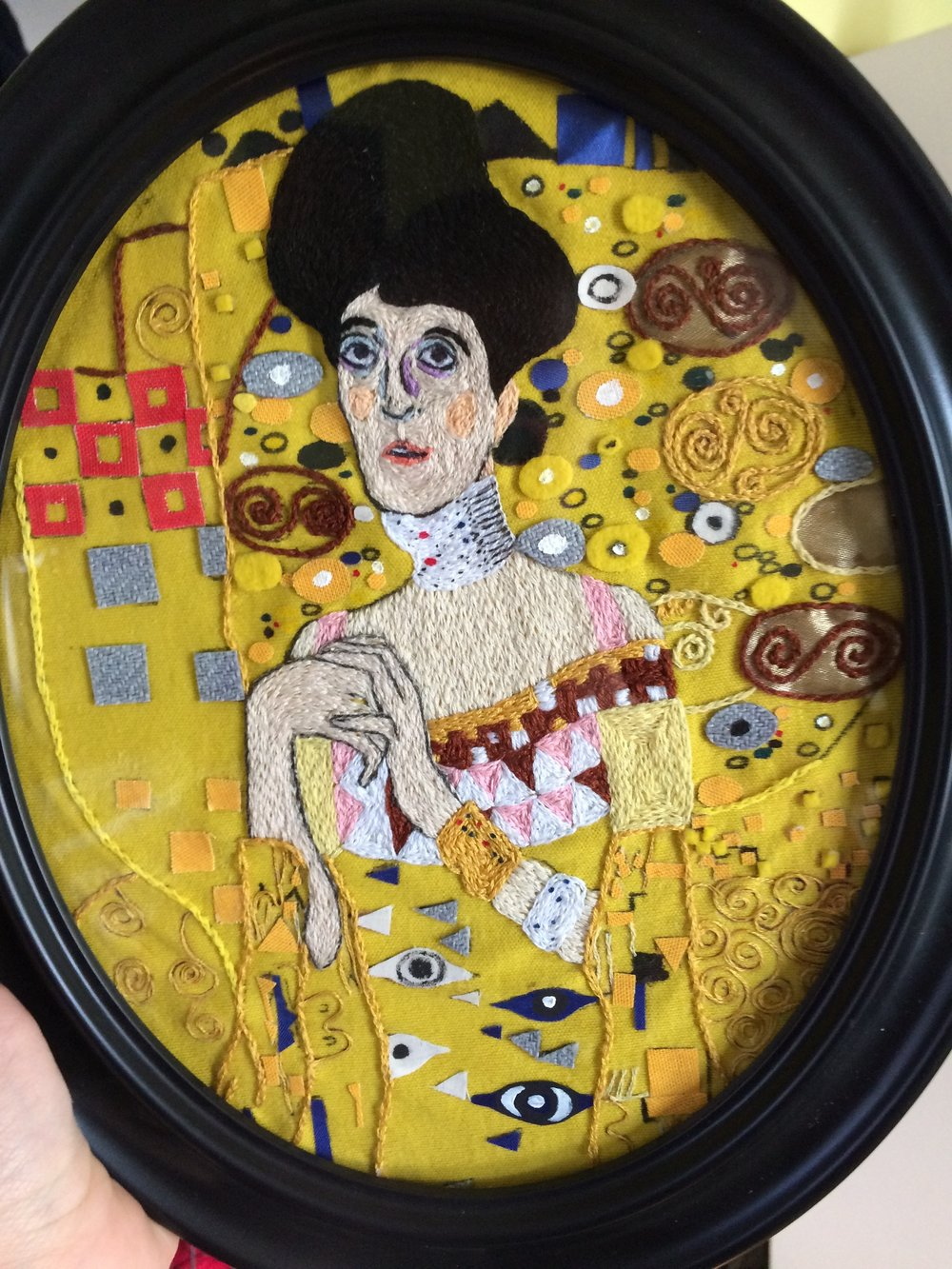 """Commissioned embroidery of Gustav Klimt's """"Portrait of Adele Bloch-Bauer""""."""