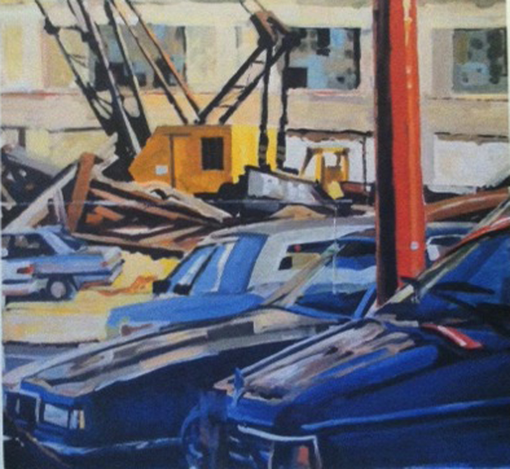 "Cars, Yellow Crane & Demolition, acrylic on paper, 28"" x 36"", 1990 On Exhibit, Addison/Ripley Fine Art, DC"