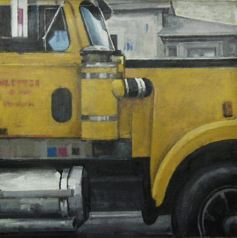 "Western Star Profile Yellow Truck, side view, acrylic on canvas, 20 1/2"" x 20 1/4"""