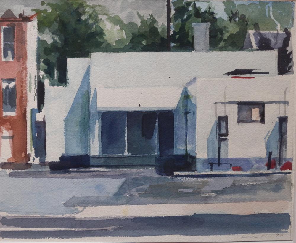 "Empty Gas Station, watercolor on paper, 8 3/4"" x 10 3/4"", 1990 Private Collection, On Exhibit, AU Katzen Center, DC"