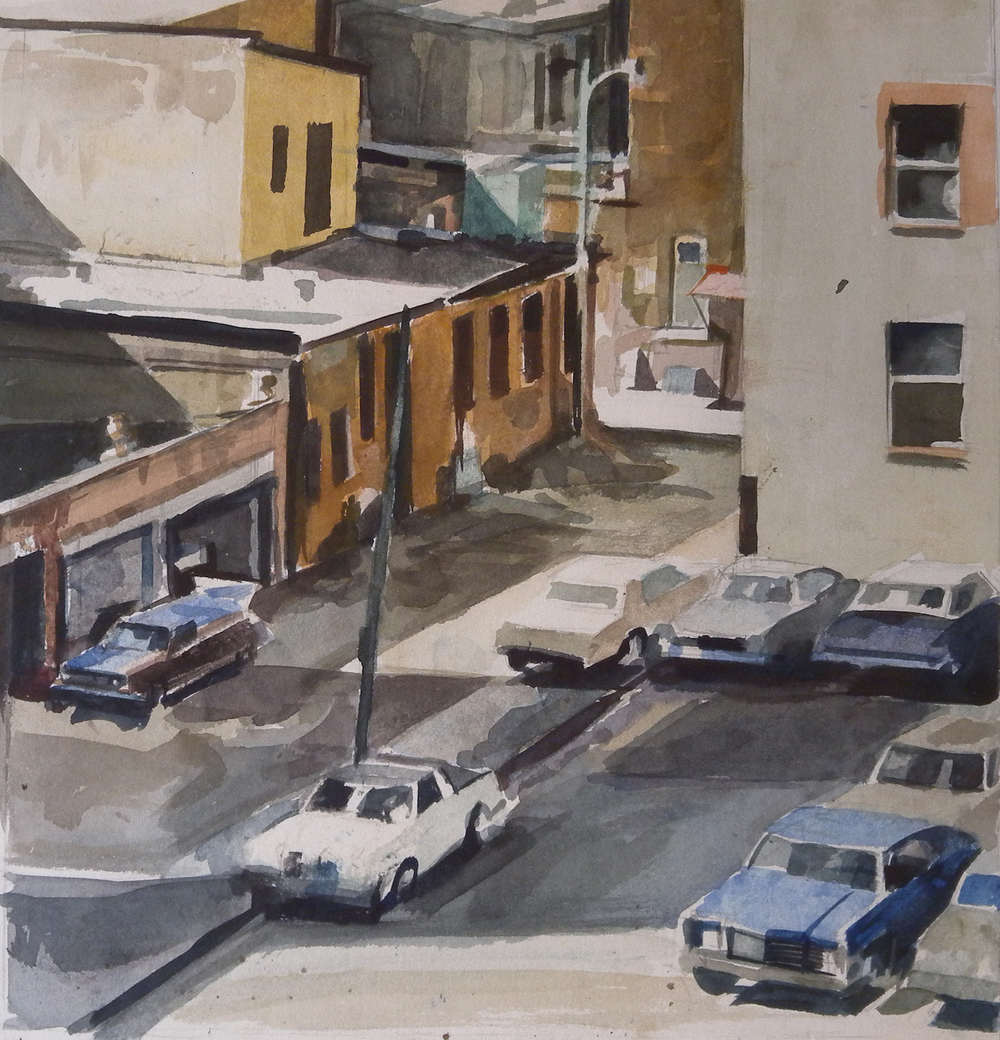 "DC Street Scene from Above, watercolor on paper, 12 1/2"" x 12 1/4"" On Exhibit, AU Katzen Center, DC"