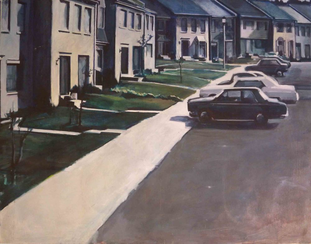 "Suburban Townhouses, acrylic on canvas, 42"" x 54 1/2"""