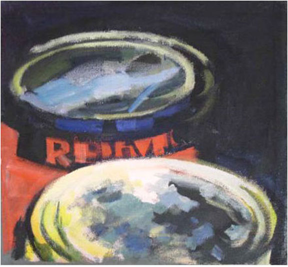 """Paint Cans Red Devil, acrylic on canvas, 14 1/4"""" x 15"""", 2005"""