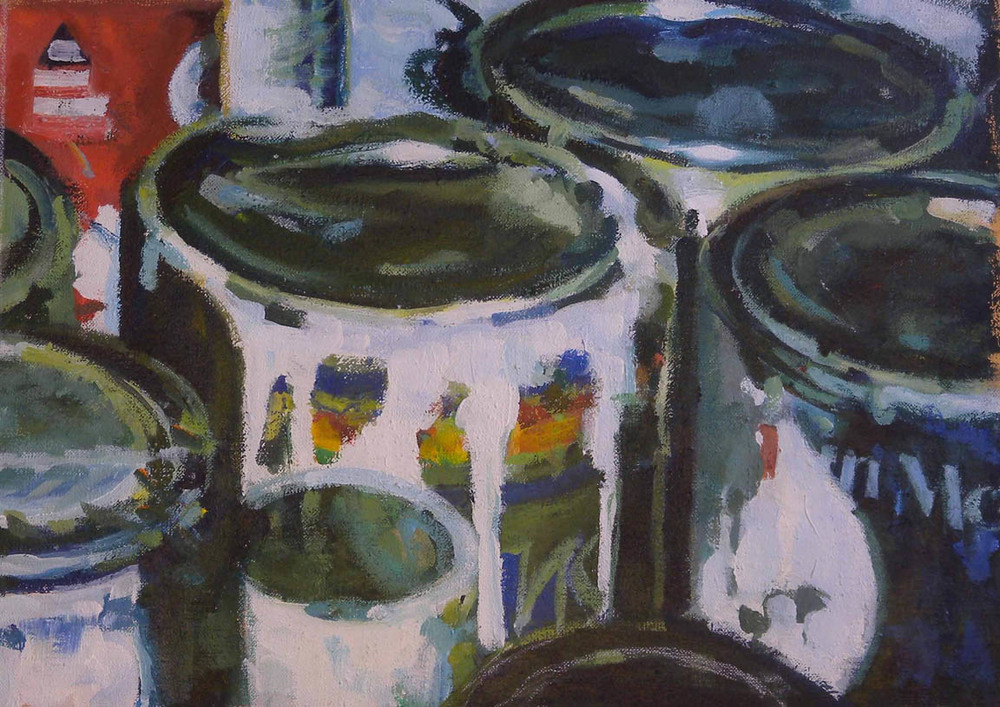 """Paint Cans, Red Corner, acrylic on canvas, 13"""" x 18"""""""