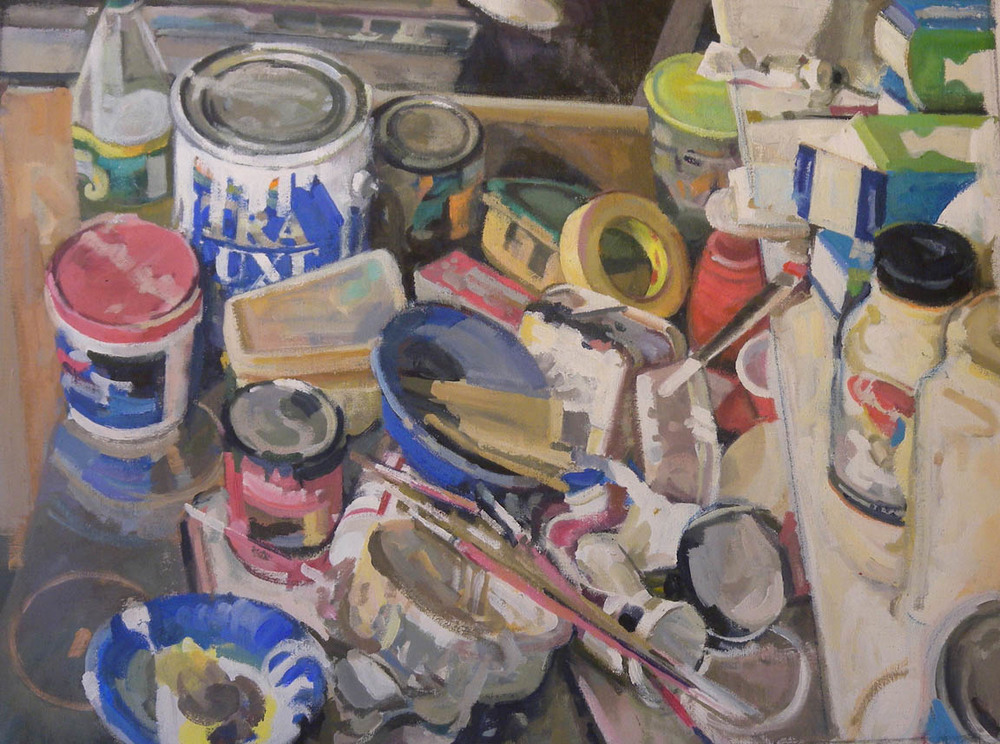 "Paint Cans Table Top, acrylic on canvas, 26 1/2"" x 35 1/2"""