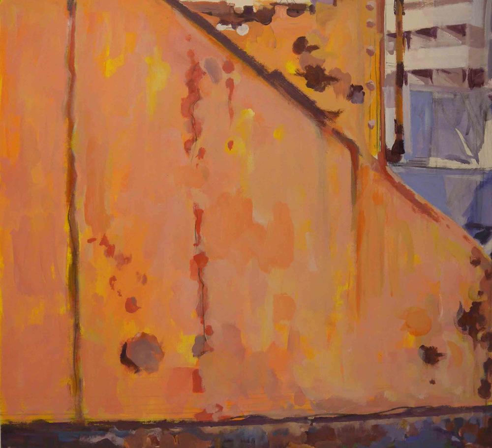 "Boatyard Crane Detail Orange, acrylic on paper, 24 1/2"" x 26"""