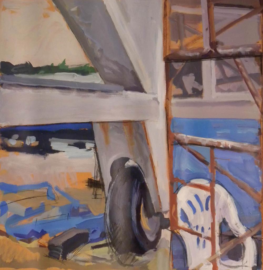 "Lewes Boatyard Split, acrylic on paper, 32 1/2"" x 32"""