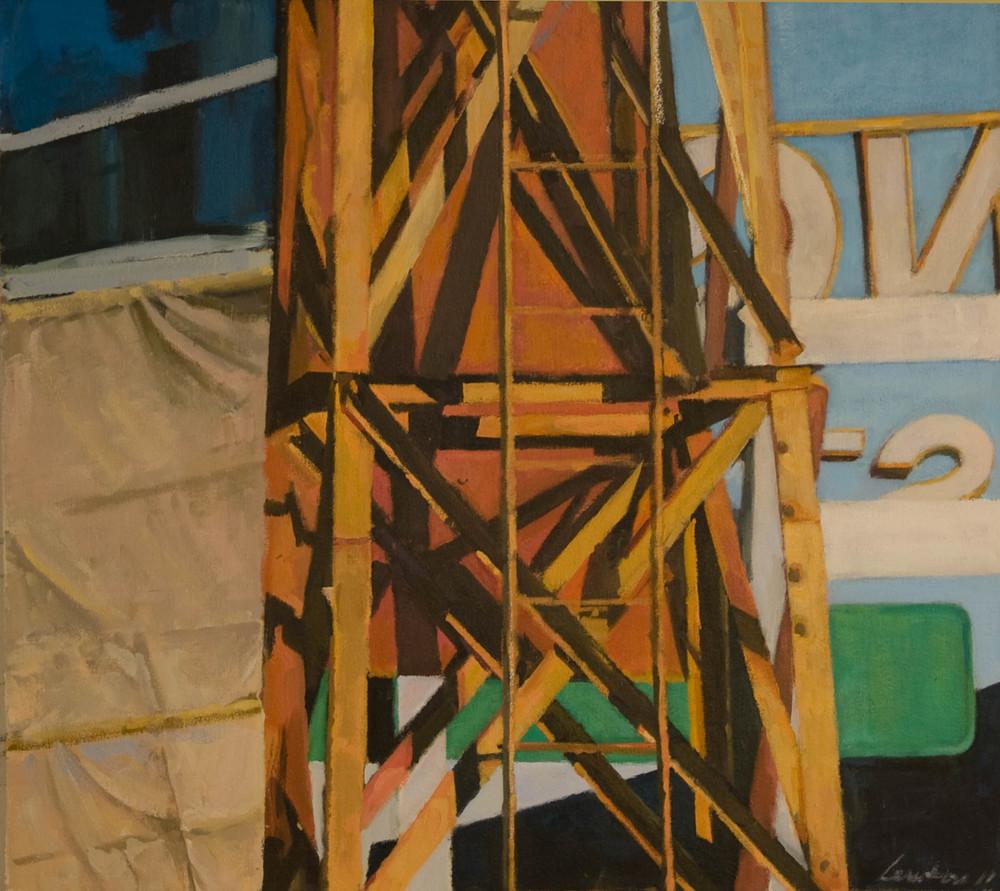 "Irish Eyes, Orange Tower (split),acrylic on canvas, 27 1/2"" x 30 1/4"", 2011"