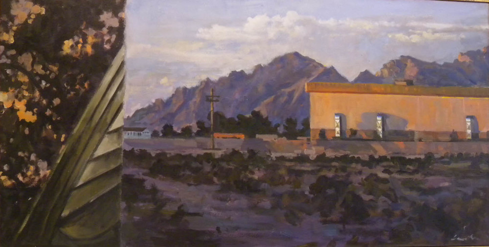 "Tucson Split, acrylic on canvas, 27 3/4"" 53 1/2"""