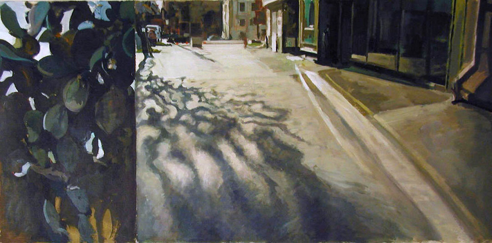 "Cactus Split Street View, acrylic on canvas, 28"" x 53 1/2"", 2001                                           Collection of the University of Maine"