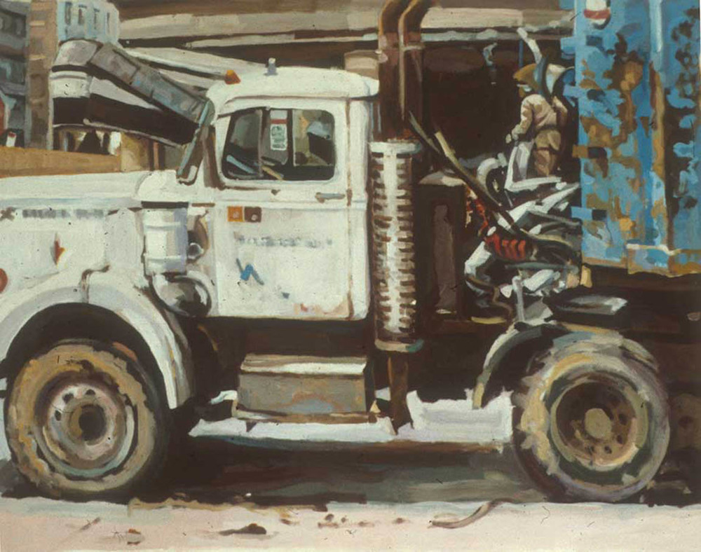"White Truck & Demolition, acrylic on canvas, 30 1/2"" x 38 1/2"", Private Collection"