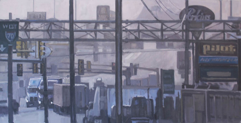 "Breezewood Truck Stop #1, acrylic on canvas, 27"" x 52 1/2"", 2011"