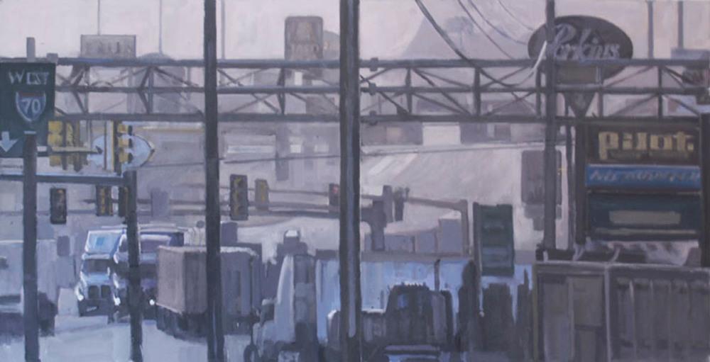 "Breezewood Truck Stop #1, acrylic on canvas,27"" x 52 1/2"",2011 On Exhibit, Addison/Ripley Fine Art, DC"