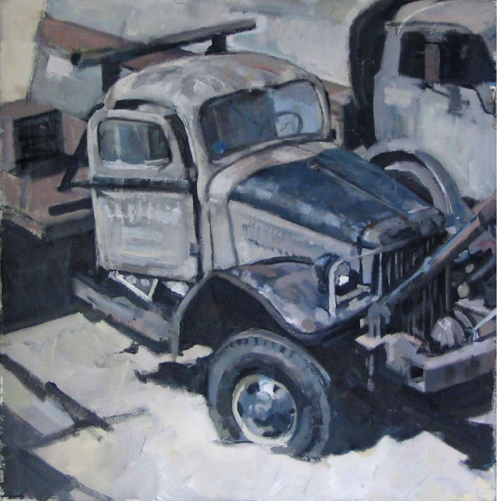 "Mack in Black and White, Door Open, acrylic on canvas, 24"" x 24"""