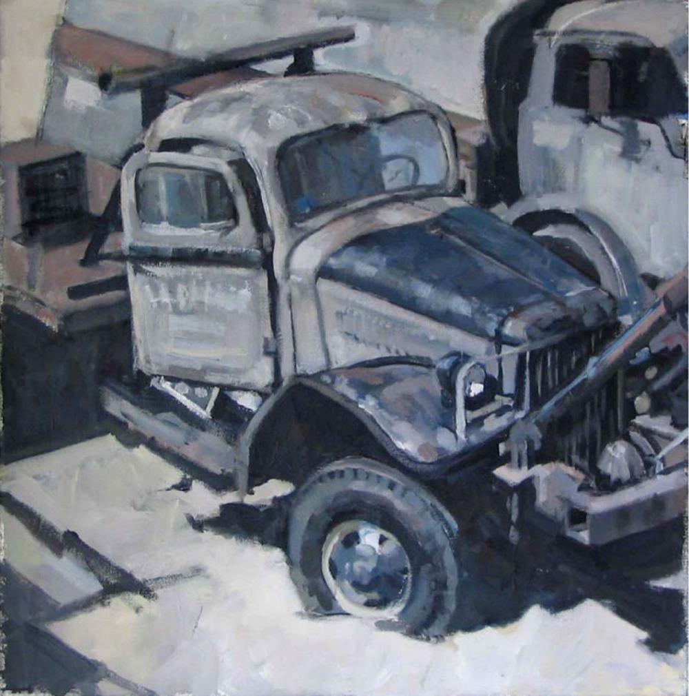 "Mack in Black and White, Door Open,acrylic on canvas,24"" x 24"" On Exhibit, AU Katzen Center, DC"
