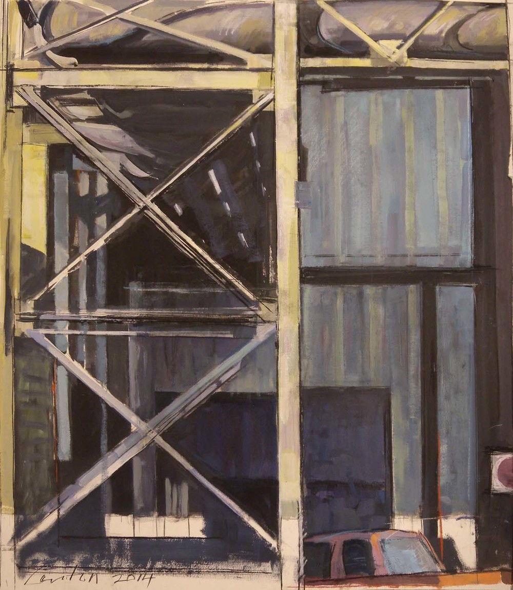"Girder & Truck, acrylic, gouache & charcoal on paper, 31"" x 26 3/4"", 2014, Private Collection"