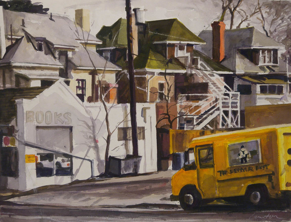 "Books Yellow Delivery Trucks, watercolor on paper, 17"" x 23"""