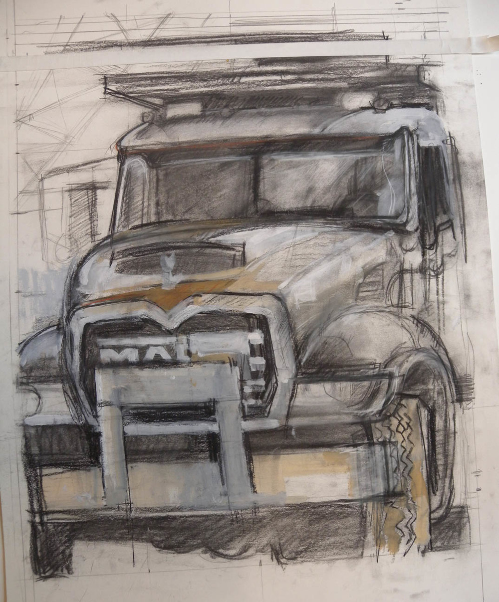 "White Truck (unfinished), charcoal & acrylic on paper, 23 1/2"" x 20 1/2"""