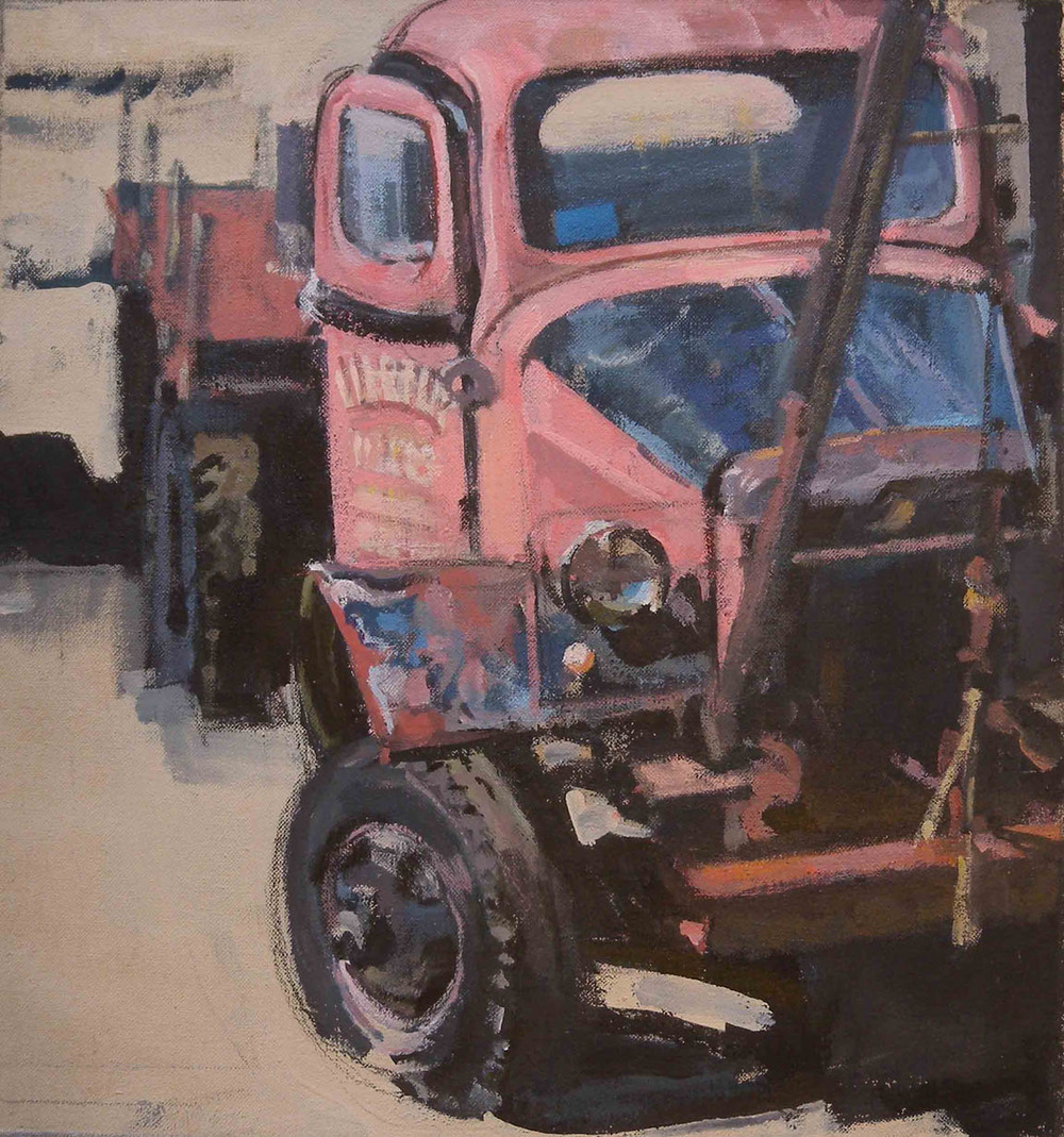 "Pink & Blue Truck, acrylic on canvas, 17 1/4"" x 16 1/4"", Private Collection"