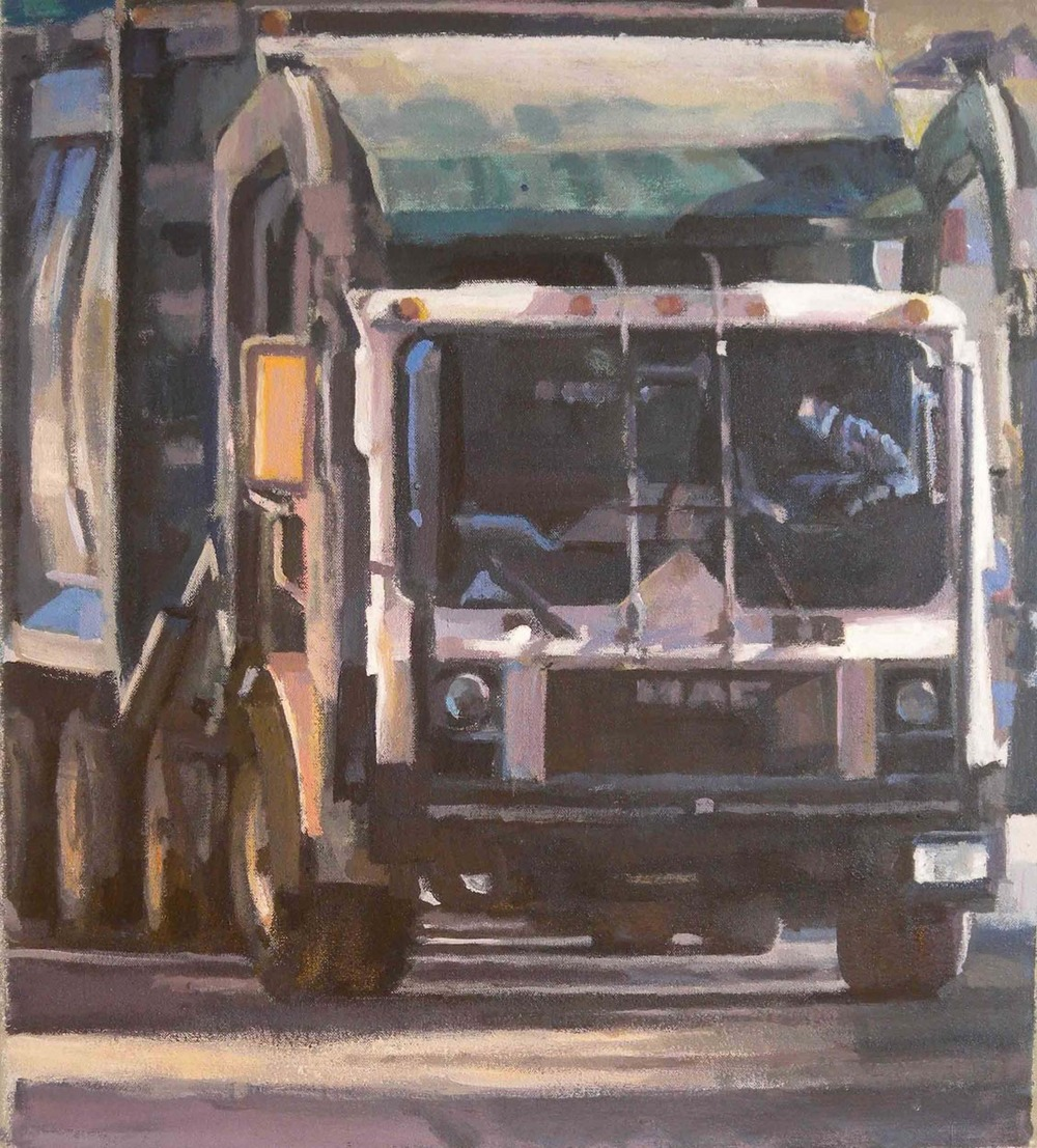 "Green Trash Truck Driver, acrylic on canvas, 20 1/2"" x 18 1/4"""