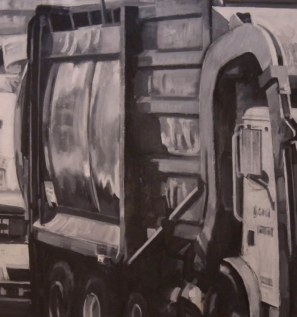 "B&W Trash Truck, acrylic on canvas, 42"" x 99"""