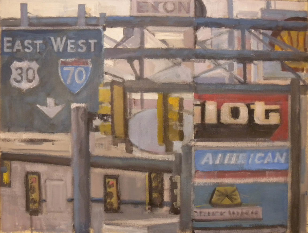"Breezewood Truck Stop #5, acrylic on canvas, 21 1/2"" x 28"", 2011"
