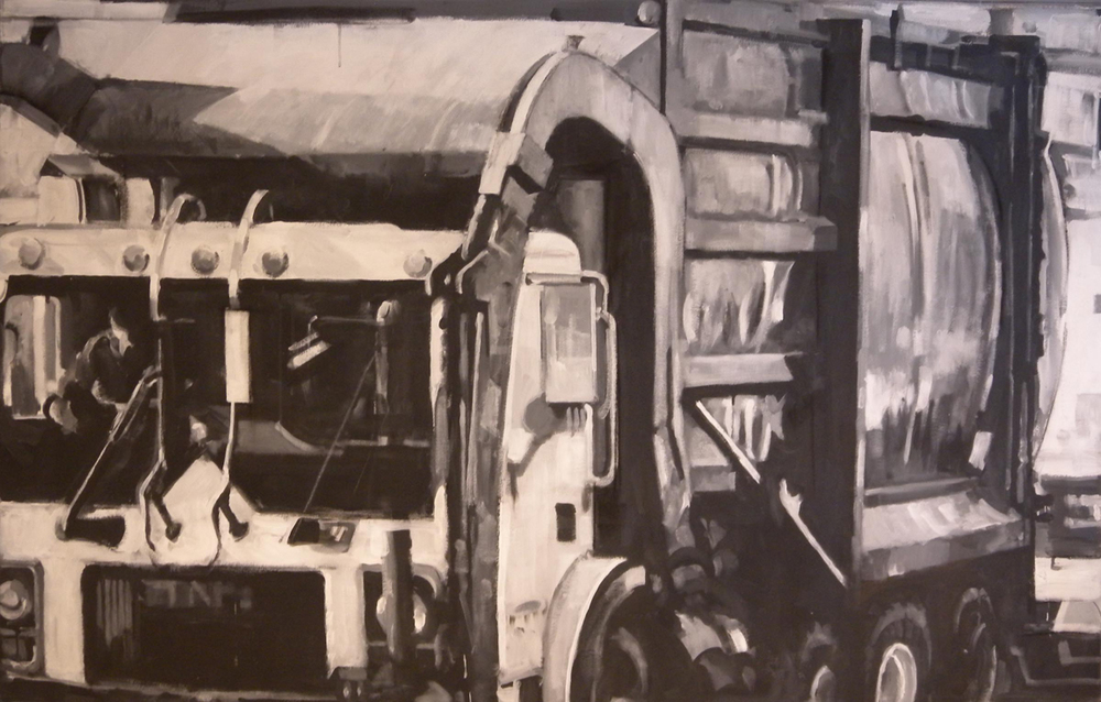 "B&W Trash Truck, acrylic on canvas, 42"" x 99"", 1999"